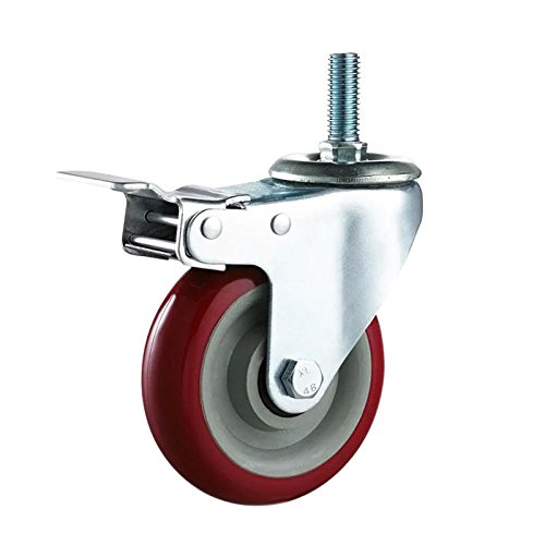 "Mr.Garden 3"" Heavy Duty Caster wheels with Brake Lock and Rubber Base Red"