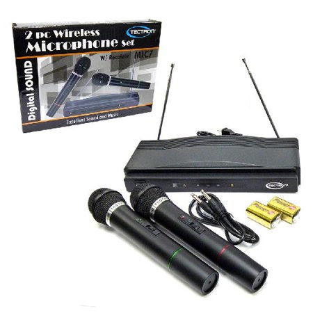 Cordless Dual Wireless Microphone System - Set of Two with Receiver / For Karaoke DJ Signing