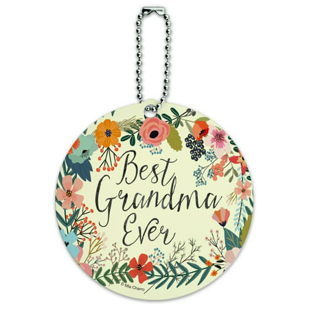 Best Grandma Ever Floral Round Luggage ID Tag Card Suitcase