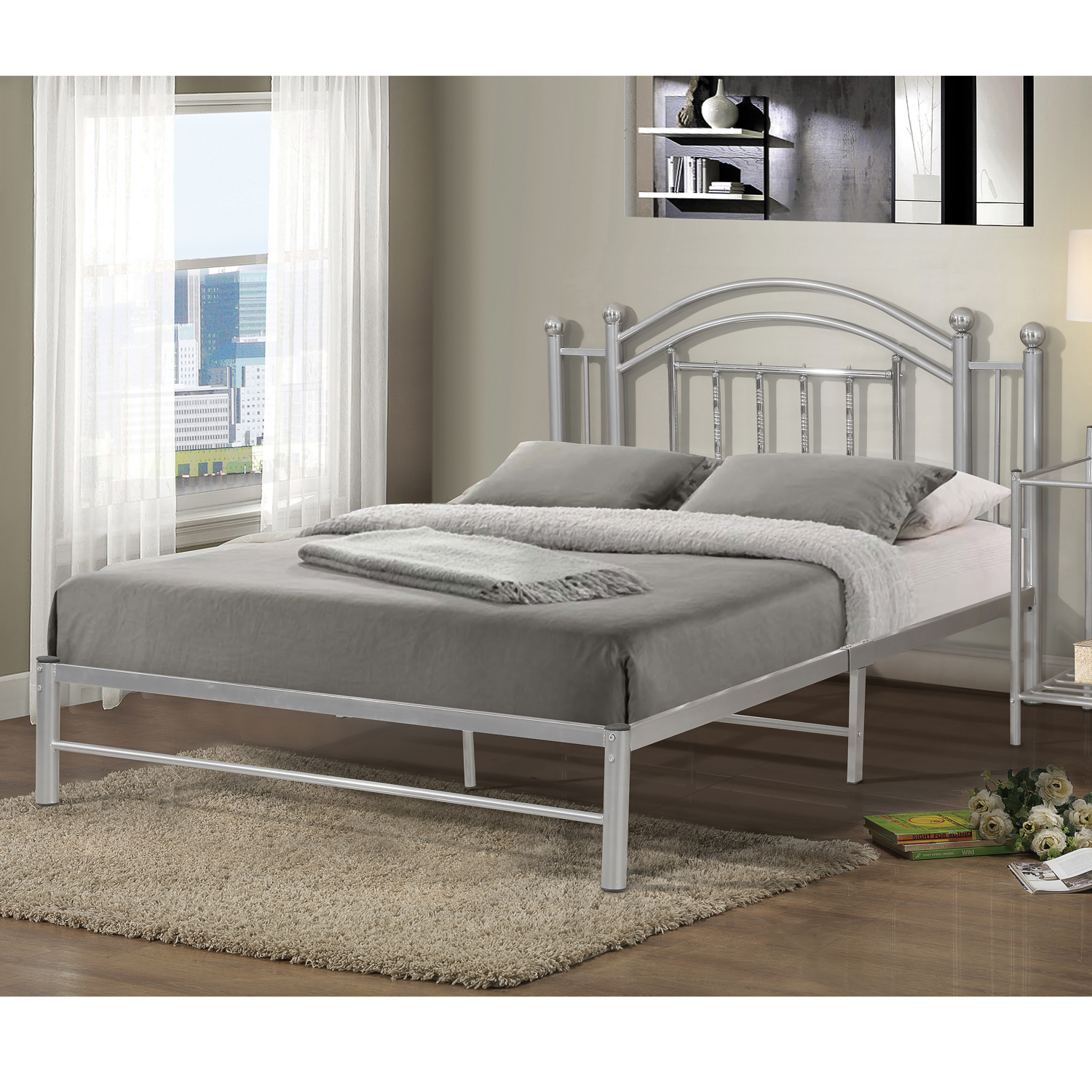 Home Source Kean Silver Chrome Twin Bed