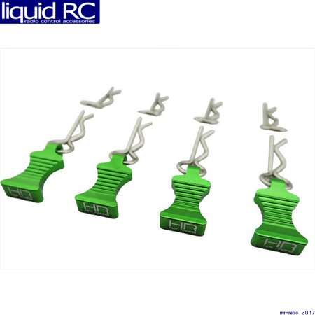 Hot Racing AC03EZ05 1/10 Green Aluminum Ez Pulls (4) Body Clips (Ez Clip Front)