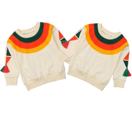 Cute Toddler Kids Baby Girls Long Sleeve Crew-Neck Rainbow Sweater Tops Clothes