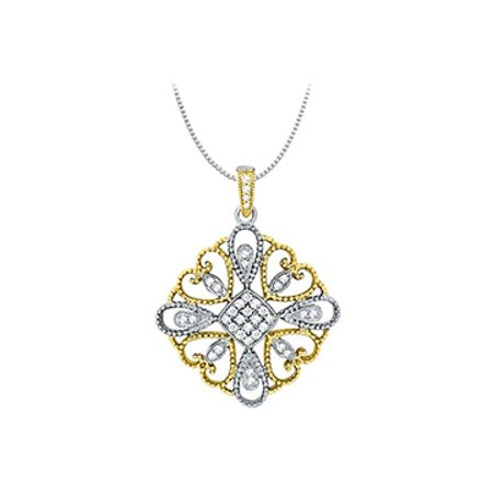 Diamond square pendant in Two Tone 14K Gold 0.33 CT TDWJewelry Gift for Women - image 1 de 2