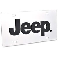 Jeep License Plate - Stainless Steel with Black Logo