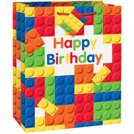 Building Blocks Gift Bag Building Blocks Gift Bag:1 Building Blocks Gift Bag Party Bag measures 13  x 10.5 Comes with a small gift tag on the handle Great for holding small to medium sized items Ideal for a boy's birthday party or building blocks theme party Coordinate with other Building Blocks party supplies.