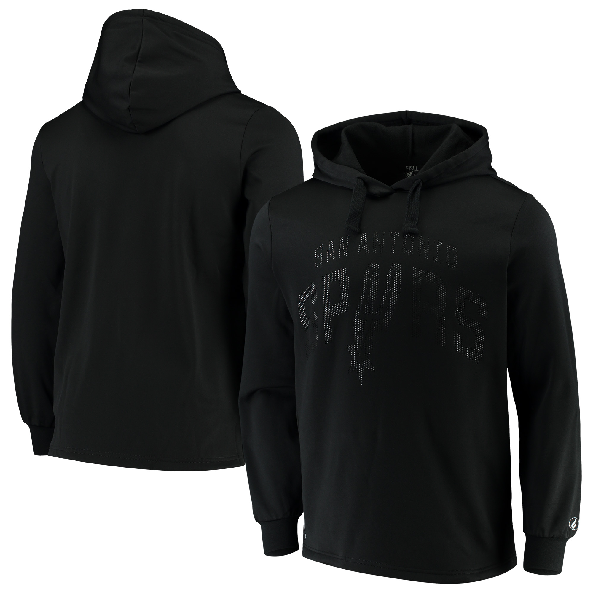 San Antonio Spurs FISLL Contrast Perforated Poly Fleece Pullover Hoodie - Black