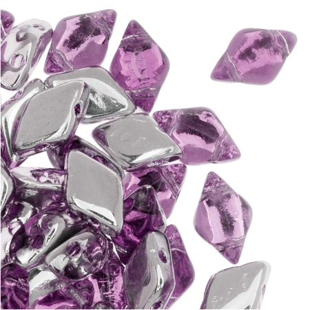 Backlit Pin (Czech Glass GemDuo, 2-Hole Diamond Shaped Beads 8x5mm, 8 Grams, Backlit Pink Mist )