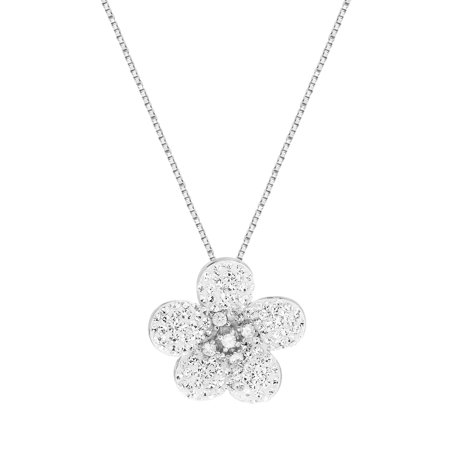 Faceted Crystal Flower Necklace in Sterling Silver made with Swarovski Crystals
