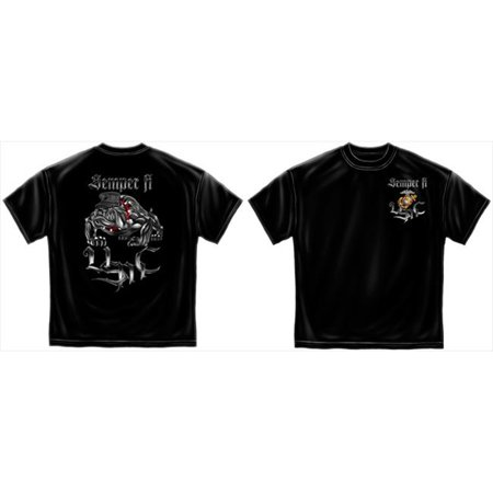 Cotton Sempri Fi Chrome Dog Marine Corps T-Shirt