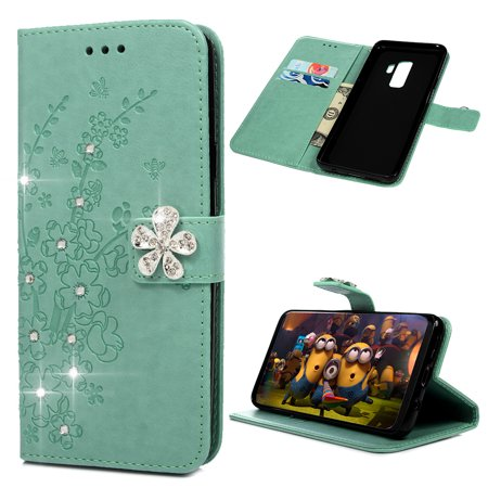 Samsung Galaxy S9 Plus Wallet Case with Magnetic Closure and Inner TPU &Fashion Floral Embossed Bling Crystal Shiny Diamond PU Leather Magnetic Flip Cover Card Holders ()