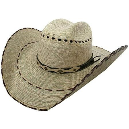 Mexican Palm Western Sombrero Cowboy Hat Safari Sun Lifeguard Gardener SPF Big Brim (Medium / Large, Natural / Burgundy Border) - Large Sombrero