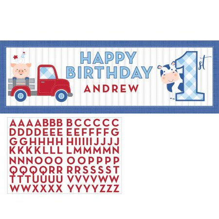 Creative Converting Farmhouse Birthday Giant Party Banner With Stickers](Farm Birthday Theme)