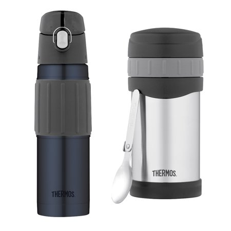 Thermos Vacuum Insulated 18-Ounce Stainless Steel Hydration Bottle, Midnight Blue & Thermos 16-Ounce Vacuum Insulated Stainless Steel Food Jar with Folding Spoon Conveniently take your lunch on the go with this pair of THERMOS products, which includes the THERMOS 18-ounce Stainless Steel Hydration Bottle and THERMOS 16-ounce Food Jar with Folding Spoon. The hydration bottle features Thermos vacuum insulation for maximum temperature retention. The food jar has an extra-wide mouth for easy filling.