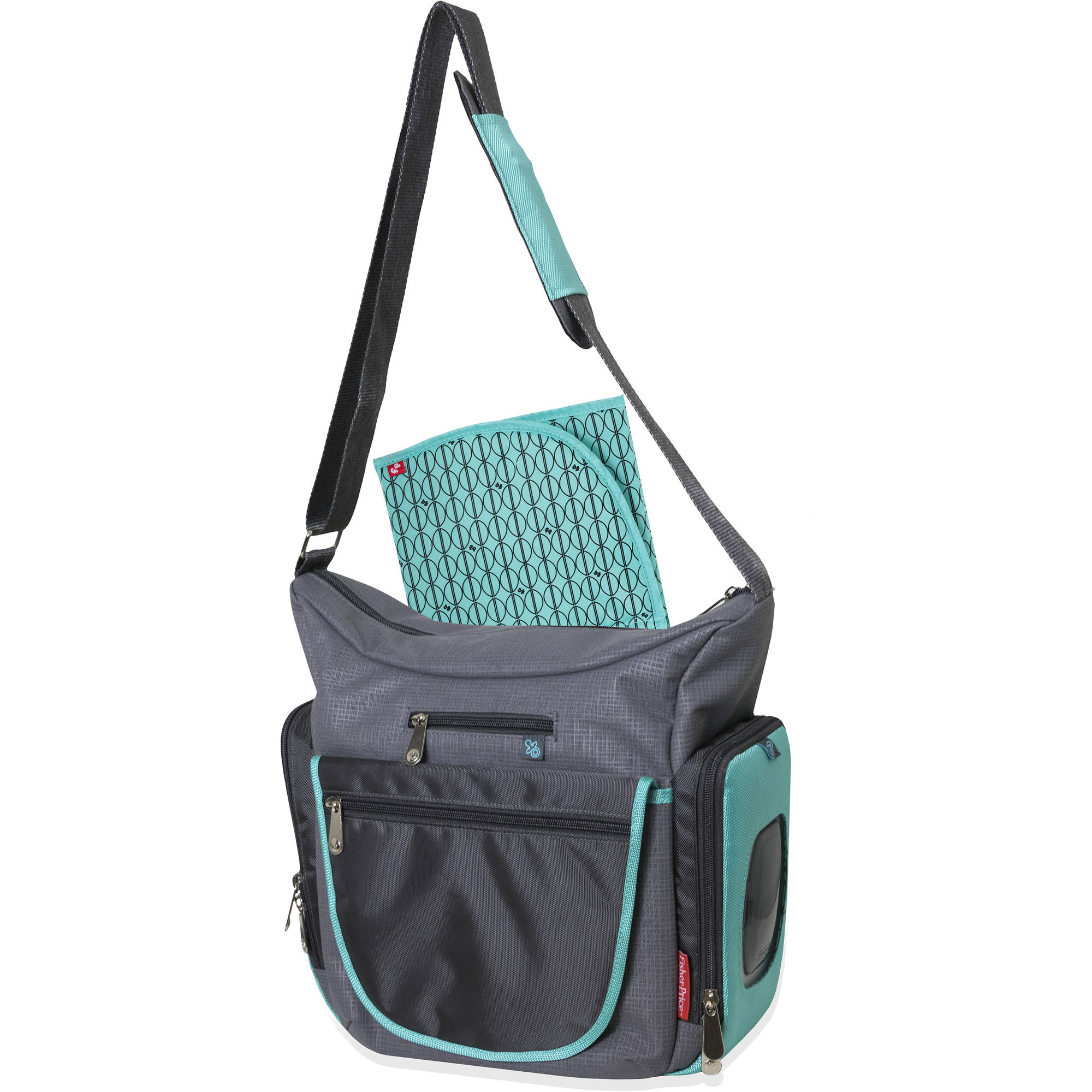 Fisher-Price Midsize Gray/Teal Hobo Bag