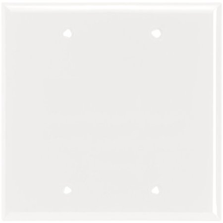 Cooper 5137W White Unbreakable Two Gang Blank Box Mount Wall Plate