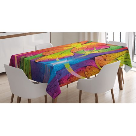 - Fractal Tablecloth, Vibrant Rainbow Colored Floral Pattern with Vivid Contrast Curved Leaves Artisan Print, Rectangular Table Cover for Dining Room Kitchen, 52 X 70 Inches, Multi, by Ambesonne