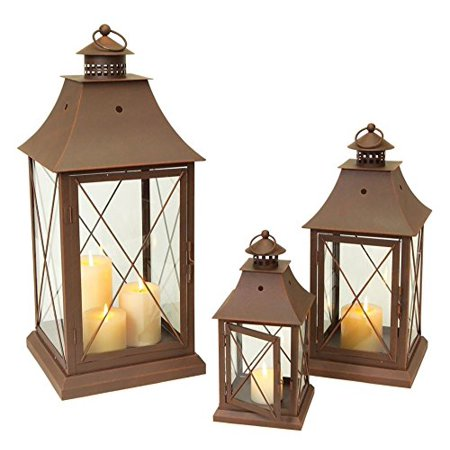 "Set of 3 Cottage-Style Brown Pillar Candle Holder Lanterns 24"" - image 1 of 1"