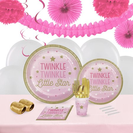 Twinkle Twinkle Little Star Pink 16 Guest Tableware & Decoration Kit