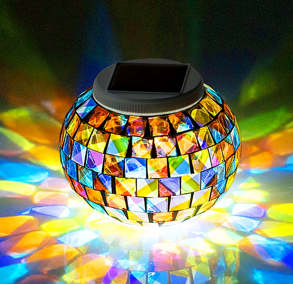 Peralng Mosaic Glass Solar Powered Light,Waterproof Glass Ball Led Table Light With Color Changing For Outdoor Lawn ,Yard,Festival Decorations The Best Gift