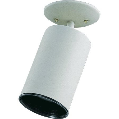 1-Light Cylinder Bullet Directional Spot Light Fully Adjustable White Steel Can Lamp with Black Metal Baffle