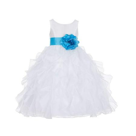Ekidsbridal Formal Satin Ivory Organza Ruffle Flower Girl Dress Bridesmaid Wedding Pageant Toddler Recital Graduation Reception Holiday Communion Ceremony Birthday Baptism Occasions 168T