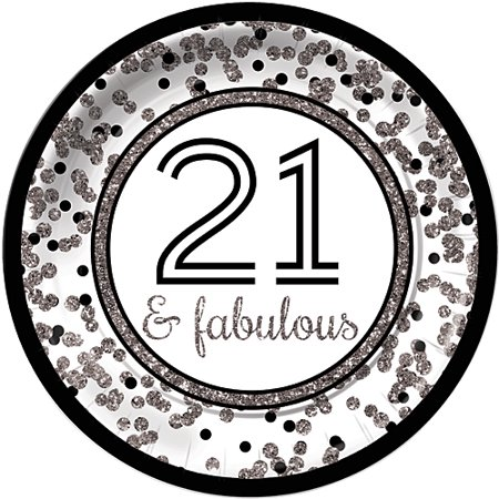 Cheers to You Silver 21 Dinner Plates ()