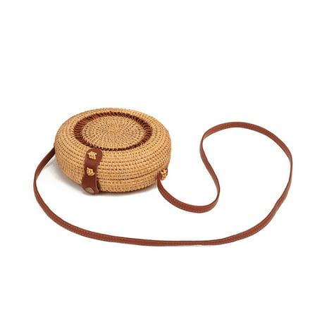 Bamboo Rattan (Women Hand-Woven Bamboo Rattan Bag Straw Purse Wicker Crossbody Beach)