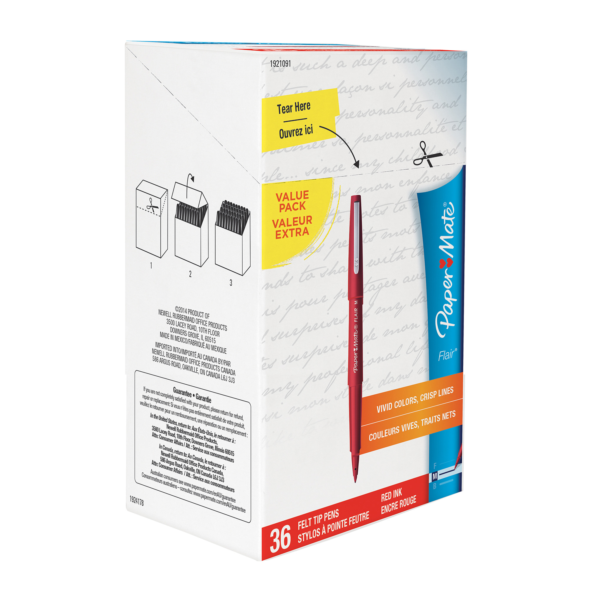Paper Mate Flair Felt Tip Pens, Medium Point, Red, Box of 36