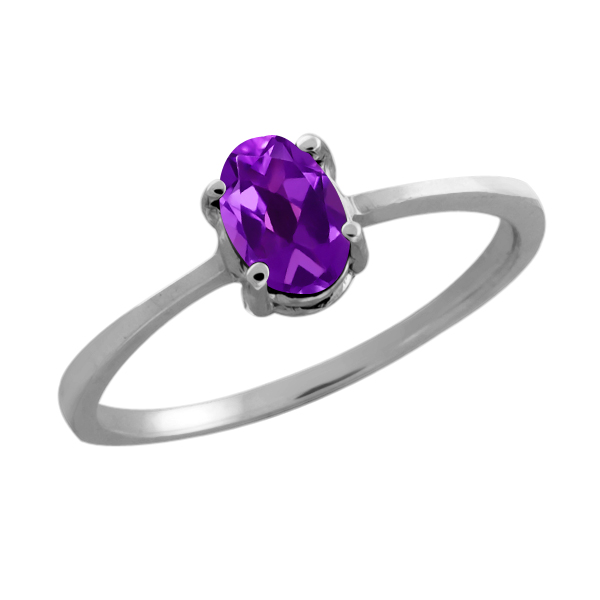 0.45 Ct Oval Purple Amethyst 14K White Gold Ring