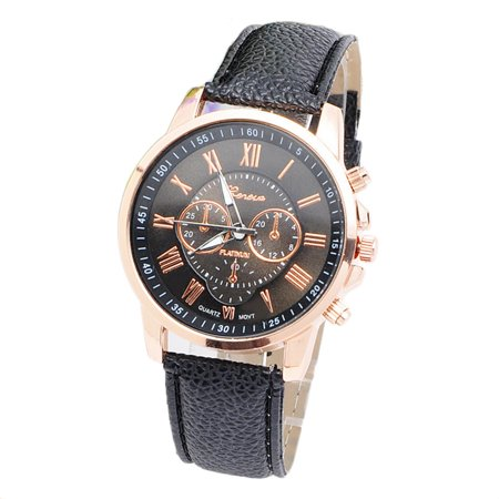 Environmental Friendly Fashion Brand Men Male Casual Stylish Romen Numerals Faux Leather Quartz Watch Montre Watches Black - image 4 of 6