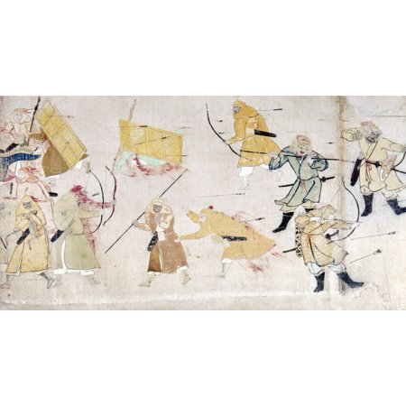 Japan Mongol Invasion Nmongol Warriors Stand Behind Thick Bamboo Screens Used As Mobile Shields During A Japanese Counterattack C1274 Detail From Japanese Scroll Painting On Paper C1293 Attributed To