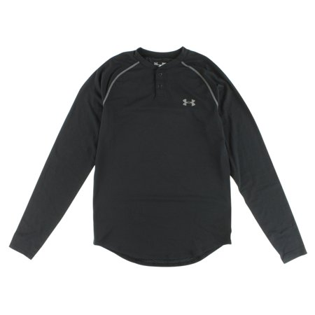 Under armour mens cold gear infrared henley shirt black for Under armour cold gear shirt mens