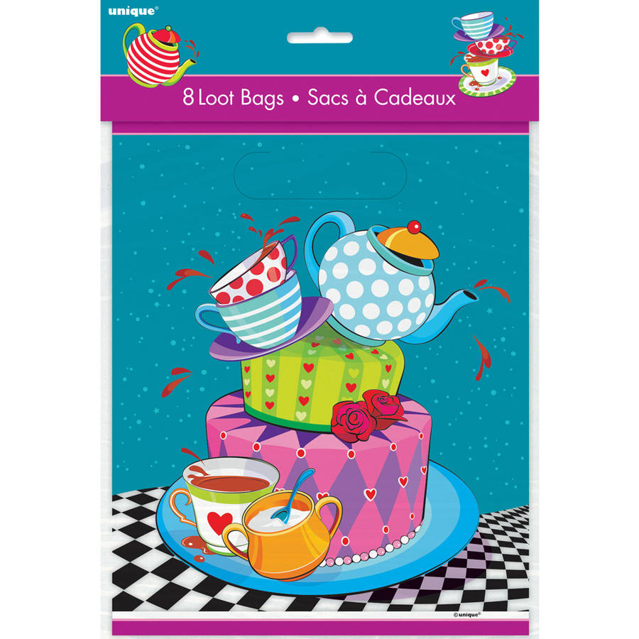Alice in Wonderland Tea Party Favor Bags, 8-Count