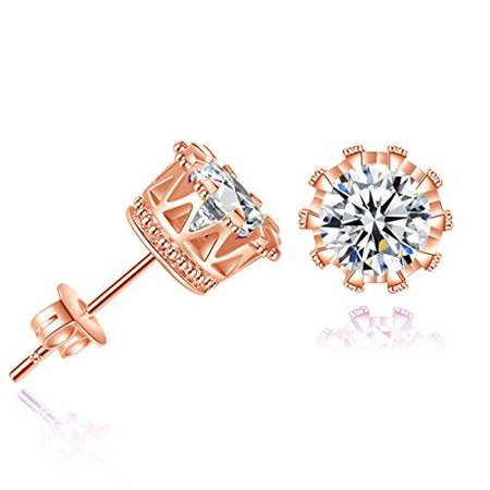 Sexy Sparkles Copper Ear Stud Earrings Cubic Zirconia Inlaid Crown 9mm Rose Gold Tone