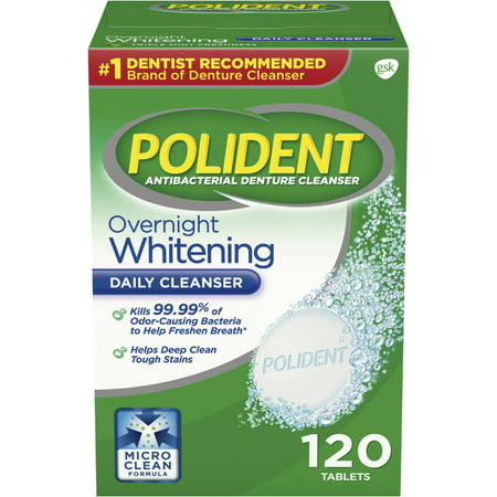 (2 pack) Polident Overnight Whitening Antibacterial Denture Cleanser Effervescent Tablets, 120