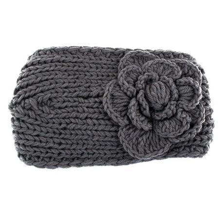 Unique BargainsWinter Women Woolen Yarn Crochet Camellia Flower Headwrap Headband Hairband Gray Flower Crochet Headband