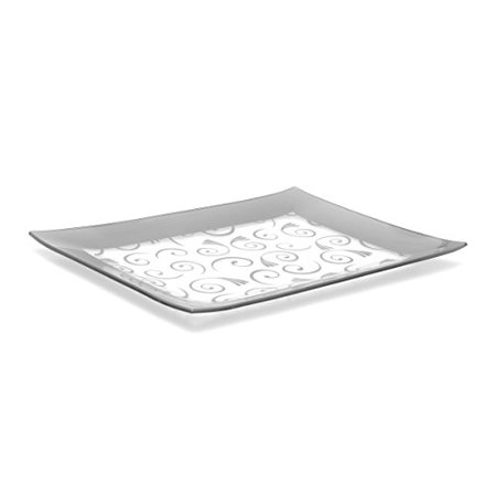 Fused Glass Platters - GAC Tempered Glass Tray Rectangular Glass Platter Unbreakable – Chip Resistant – Oven Safe – Microwave Safe – Dishwasher Safe – Stackable Decorative Plate and Glass Serving Tray Silver