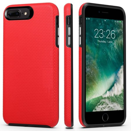 iPhone 7 Plus/8 Plus Case, ImpactStrong Dual Guard Protection Shock-Absorbing Scratch-Resistant Protective Cover for Apple iPhone 7 Plus and iPhone 8 Plus (Red)