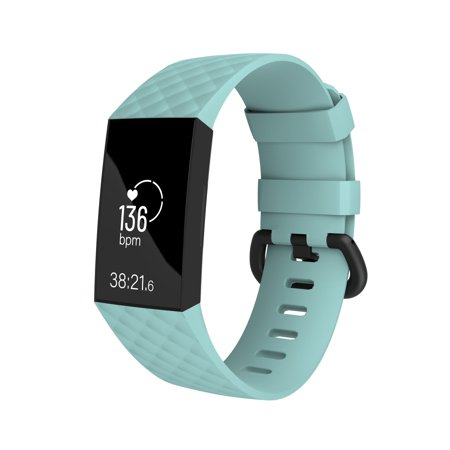 2 Pack Fitbit Charge 3 Wristband, byZodaca Replacement Silicon Wristband Watch Straps For Fitbit Charge 3 Fitness Activity Tracker - Mint Green Size Large