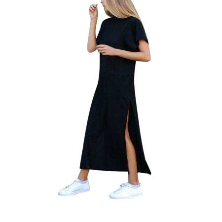 OUMY Women Split Maxi Long T-shirt Dress