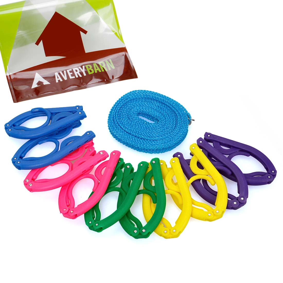 Avery Barn 10pc Multi Color Foldable Hangers With 16ft Outdoor Clothesline Rope