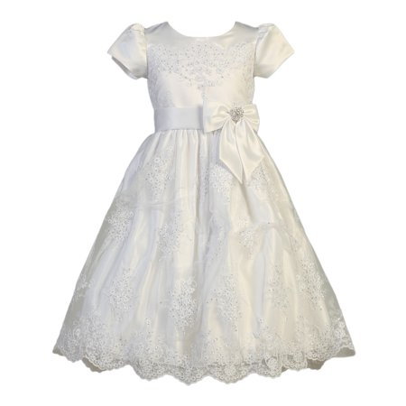 - Girls White Corded Tulle Sequin Satin Holly Communion Dress