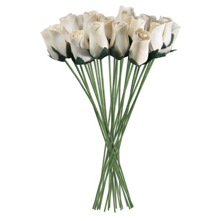 White Realistic Wooden Roses 32 Count - Buy Wooden Roses