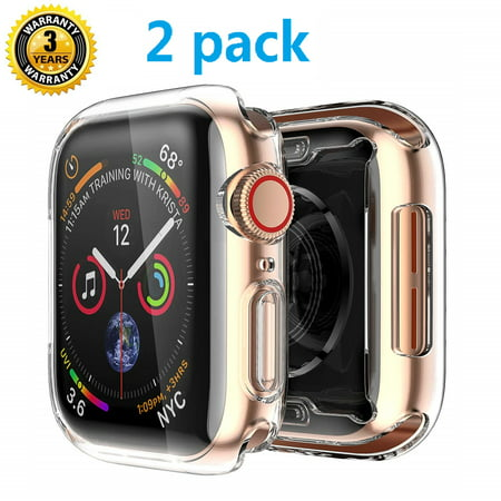 Case 44mm Series 4 for Apple Watch, 2019 New Case for iWatch Buit in TPU HD Clear Screen Protector, Overall Protective for Apple Watch Series 4 (44mm) 2 pack,