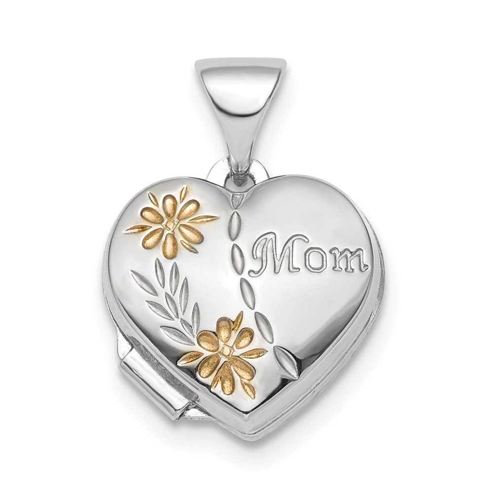 .925 Sterling Silver Gold-Plated Cross with Scallop Border Heart Locket Charm Pendant