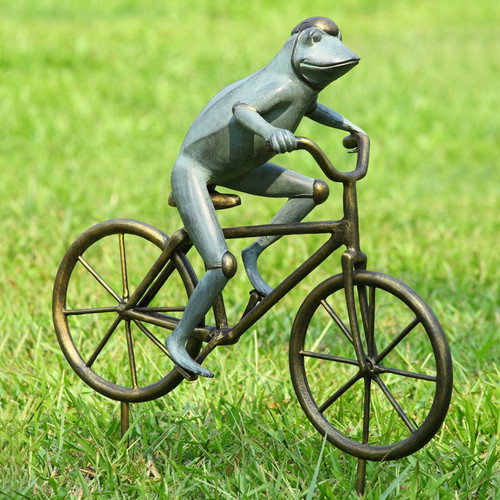 San Pacific International Frog on Bicycle Garden Statue by Garden Statues