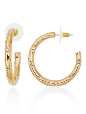 C. Wonder Womens Gold-Tone Chunky Hoop Earrings