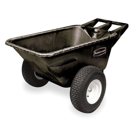 (Rubbermaid Big Wheel Cart, 1/4 cu. yd. Volume Capacity, 700 lb. Load Capacity, Heavy-Duty Hopper Type - FG564210BLA)