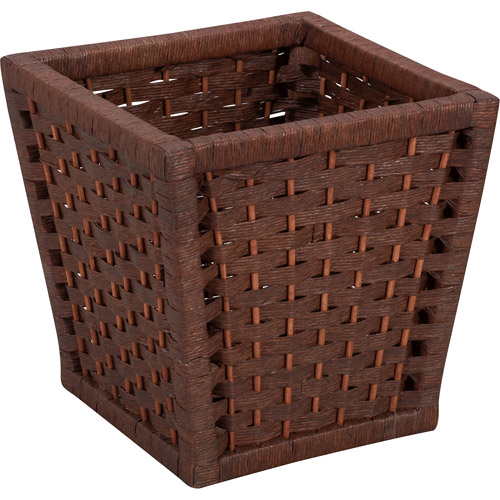 Household Essentials Paper Rope Waste Can, Dark Brown Stained