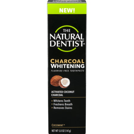 The Natural Dentist Charcoal Whitening Fluoride-Free Toothpaste, Cocomint, 5 Oz